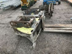 SET OF STRICKLAND EXCAVATOR MOUNTED PALLET FORKS, 65MM PINS, PREVIOUSLY USED ON HITACHI MACHINE,