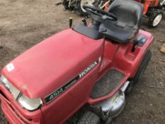 HONDA WATER COOLED PETROL RIDE ON MOWER..NO COLLECTOR!! . WHEN TESTED WAS SEEN TO DRIVE, STEER AND