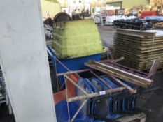 CHAIRS, 2 X MUCK SKIPS C/W CONTENTS, CABINET, 3 X TRESTLES, NO VAT ON HAMMER PRICE