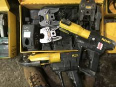 2 X REMS BATTERY POWERED CRIMPERS AND ASSOCIATED TOOLING AS SHOWN...INCOMPLETE DIRECT FROM