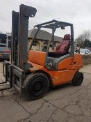 BOSS CD40 4 TONNE RATED DIESEL FORKLIFT YEAR 2007 BUILD, FULL FREE LIFT MAST, SIDE SHIFT, PERKINS