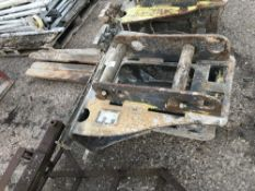 SET OF STRICKLAND EXCAVATOR MOUNTED PALLET FORKS, YEAR 2014 BUILD , 65MM PINS, PREVIOUSLY USED ON