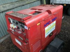 Arcgen 300amp towed welder, yr2013 WHEN TESTED WAS SEEN TO RUN AND MAKE POWER..WELDING CURRENT