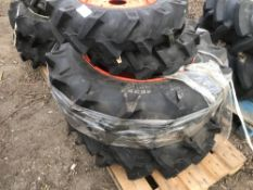 SET OF 4 X COMPACT TRACTOR WHEELS AND TYRES 2 X 7-14 PLUS 2 X 11.2-24