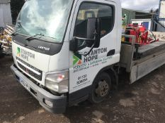 MITSUBISHI CANTER 3C13 BEAVERTAIL PLANT TRUCK REG:GN06 RPU WITH WINCH, RAMPS, SPARE WHEEL, SPARE