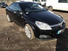 Vauxhall Astra convertable, diesel, black, 135,165 rec.miles, REG. EJ07 XYA, WITH V5 AND TEST TO 8.