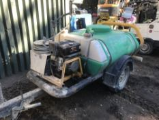 HONDA ENGINED BRENDON TOWED PRESSURE WASHER BOWSER. WHEN TESTED WAS SEEN TO RUN, PUMPING UNTESTED AS