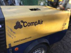 Compair c20 year 2007 trailed air compressor SN;WCA1A110771630106 WHEN TESTED WAS SEEN TO RUN AND