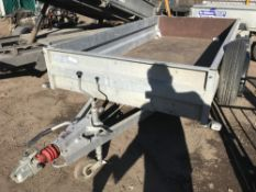 GENERAL PURPOSE TWIN AXLED TRAILER. LITTLE PREVIOUS USEAGE NO VAT ON HAMMER PRICE