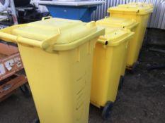 5No. Yellow wheelie bins