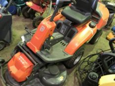 HUSQVARNA R215TX OUT-FRONT MOWER, YR2016 APPROX. WHEN TESTED WAS SEEN TO RUN, DRIVE, STEER AND