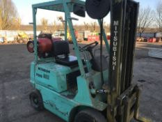MITSUBISHI FG10 GAS POWERED FORKLIFT WITH SIDESHIFT. WHEN TESTED WAS SEEN TO RUN, DRIVE, LIFT AND