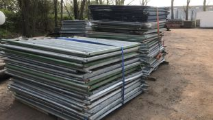 APPROX 80NO SOLID HERAS TYPE TEMPORARY SITE FENCE PANELS...SOLD AS ONE LOT..PANELS ONLY, NO FEET