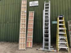 ASSORTED LADDERS, STEPS AND STAGING BOARDS