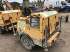 SMC TL90 towed lighting tower, yr2006 PN: 5191FC when tested was seen to run and make light