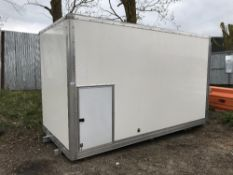GRP box lorry body with barn doors, white, 15ft length approx. Sold Under The Auctioneers Margin