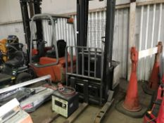 CROWN WALK BEHIND BATTERY REACH FORKLIFT C/W CHARGER, EX COMPANY LIQUIDATION Sold Under The
