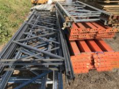 LARGE QTY OF PALLET RACKING, 16X ASSORTED LENGTH UPRIGHTS PLUS BEAMS AND TIMBER BOARDS