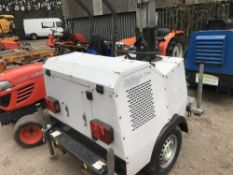 SMC TL90 YEAR 2009 BUILD LIGHTING TOWER, 4229 REC HRS PN:LT024 when tested was seen to run and