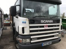 SCANIA 94D230 BEAVERTAIL PLANT LORRY - REG:KP02 MW1C TEST EXPIRED when tested was seen to start,