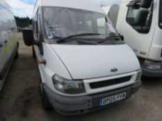 FORD TRANSIT 17 SEATER MINIBUS, REG: BP05 FVW 43,645 REC MILES?? WITH V5 WHEN TESTED WAS SEEN TO