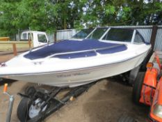SEARAY SPEED BOAT (NO ENGINE) ON 20FT TILT TRAILER WAS FITTED WITH A 3LITRE MERCURY ENGINE THAT