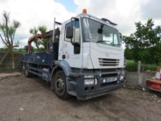 IVECO 6X2 DROP SIDE 26TONNE LORRY REG: AE54 AZP WITH REAR PALFINGER PK1200 CRANE AND BLOCK GRAB,
