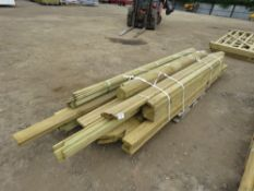 PALLET OF TIMBER POSTS AND USEFUL TIMBER 9-12FT LENGTH APPROX