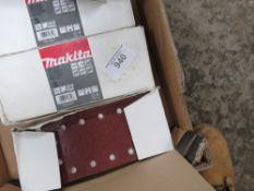 BOX OF MAKITA SANDING BELTS AND PADS
