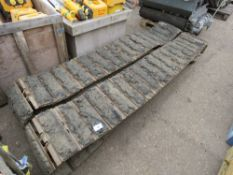 PAIR OF HITACHI 6 TONNE EXCAVATOR STEEL TRACKS C/W BLOCK PADS...REMOVED TO REPLACE WITH RUBBER