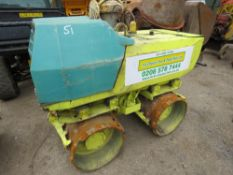 RAMMAX AMMANN DOUBLE DRUM TRENCH ROLLER PN: 3008FC WHEN TESTED WAS SEEN TO DRIVE AND VIBE, REMOTE IN