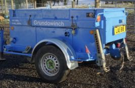 GRUNDOWINCH KW3000 BAGELA TRAILER MOUNTED DIESEL ENGINED 3 TONNE RATED CABLE WINCH UNIT. YEAR 2005