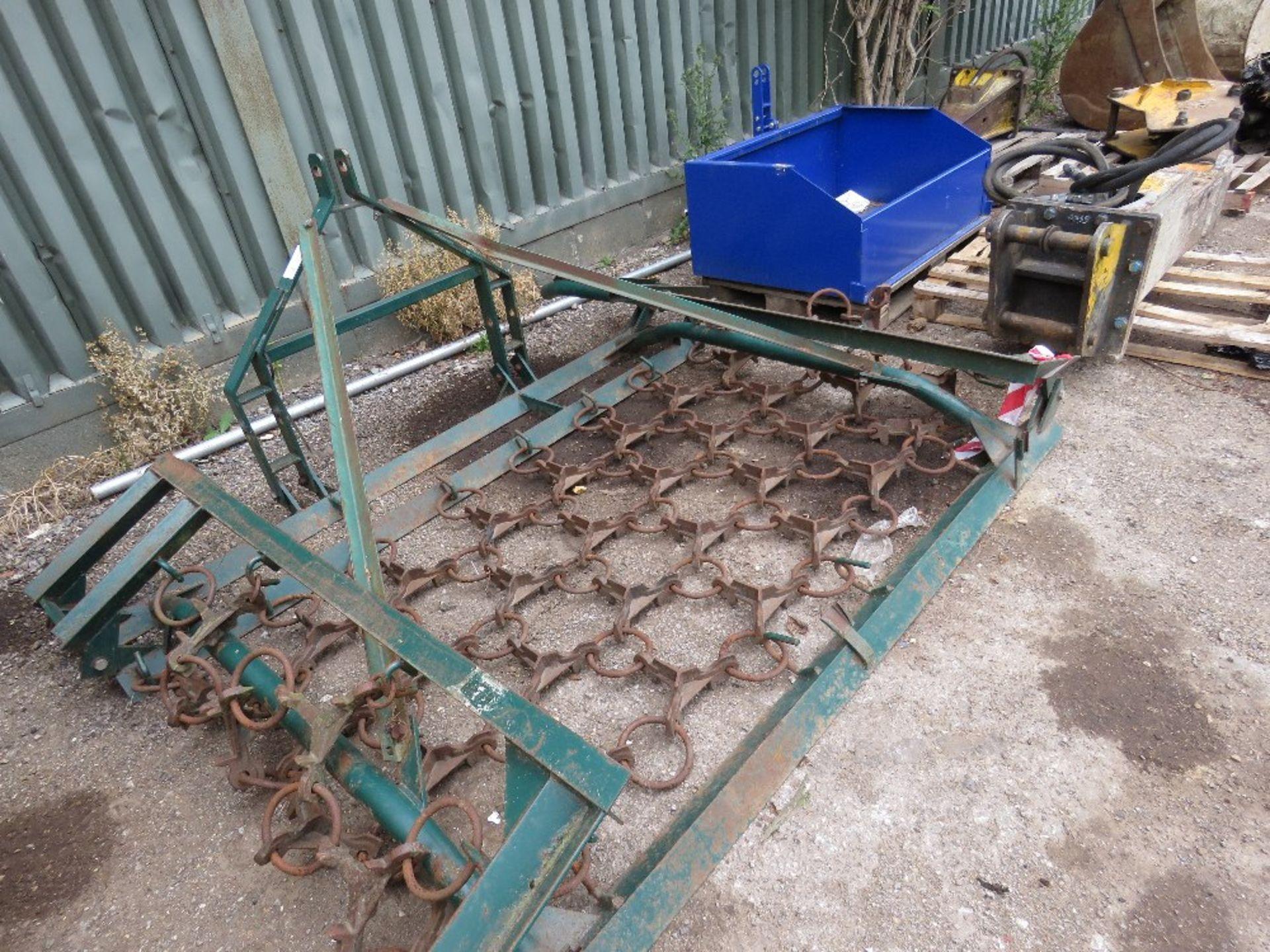 Lot 26 - Tractor mounted folding grass harrows