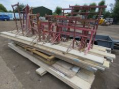 APPROX 55 ASSORTED LENGTH SCAFFOLD BOARDS PLUS APPROX 21 TRESTLES