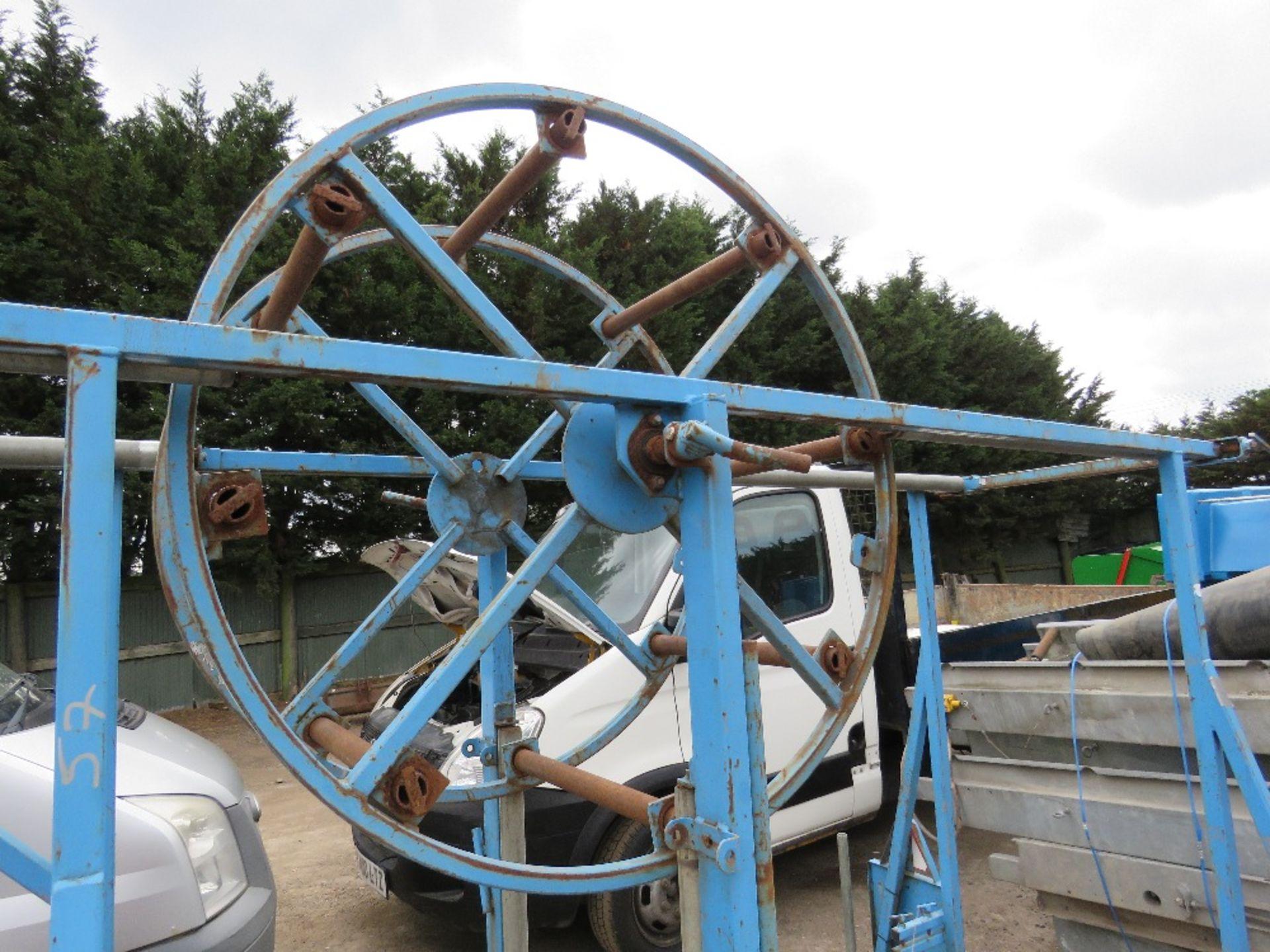 Lot 57 - BLUE STEVE VICK SINGLE AXLE COILED PIPE TRAILER