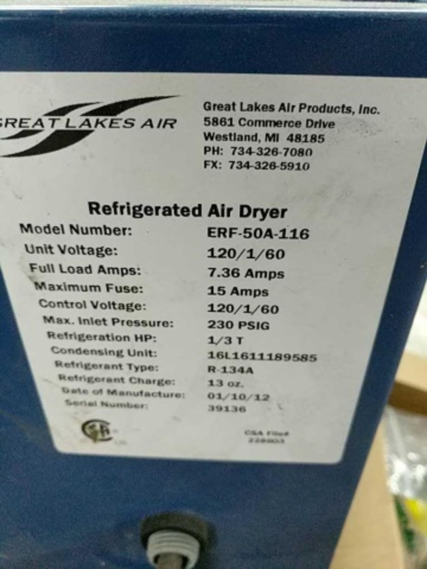 Great Lakes AIr Refrigerated Air Dryers - Image 3 of 3