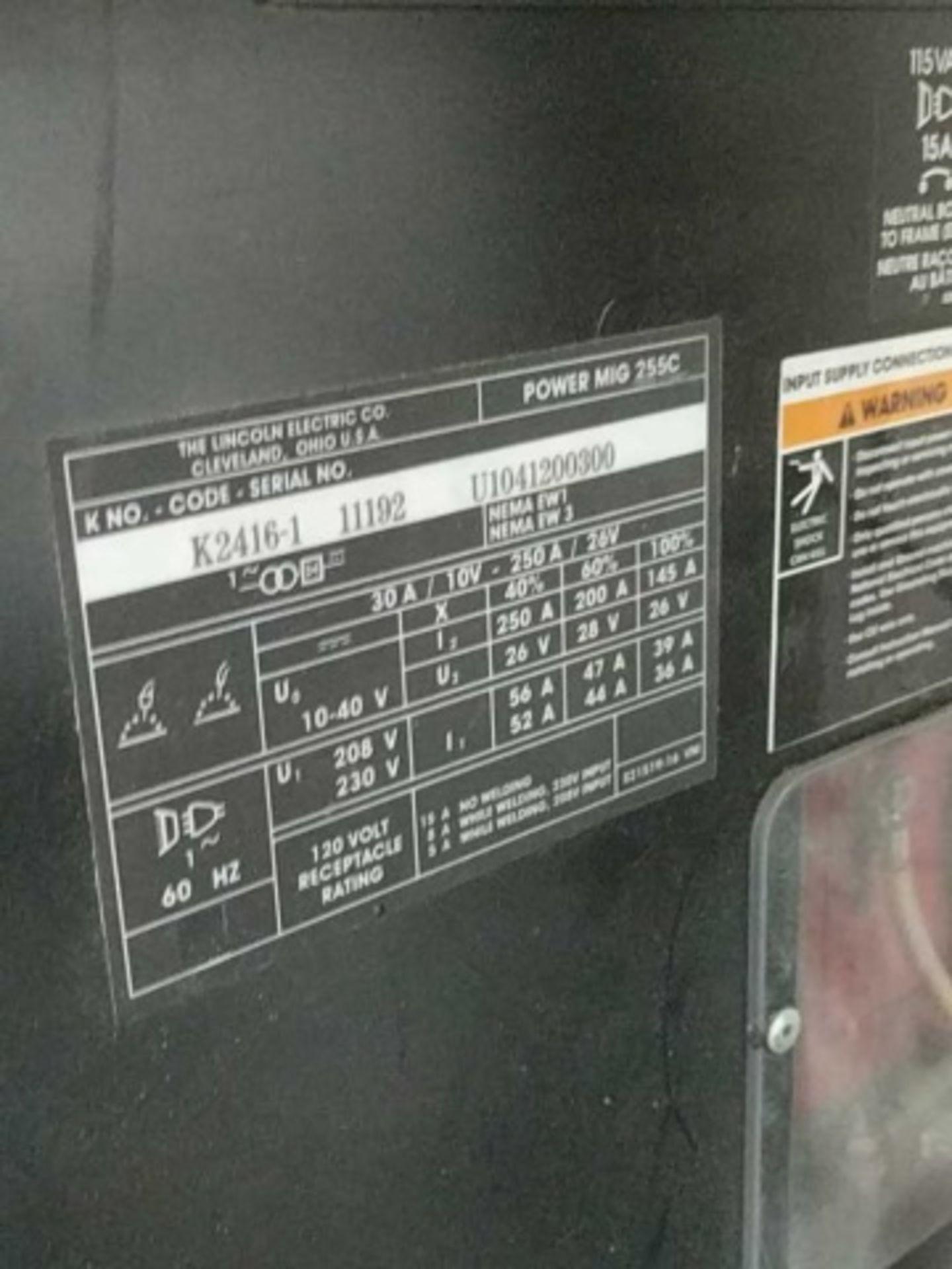 Lincoln Power Mig 255C Mig Welder - Image 4 of 4