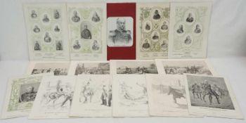 44 militärhistorische Bildtafelnum 1900, diverse Lithografien nach Zeichnungen von Richard Knötel,