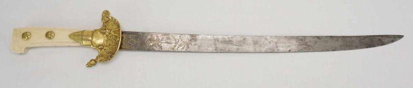 Hochwertige Jagdplaute, Dyon, um 1800Stahl und Messing, Stichblatt mit Gladiatorendarstellung und