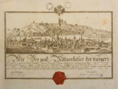 CERTIFICATE OF APPRENTICESHIP OF BUTCHER`S GUILT WITH A VIEW OF PRAGUE