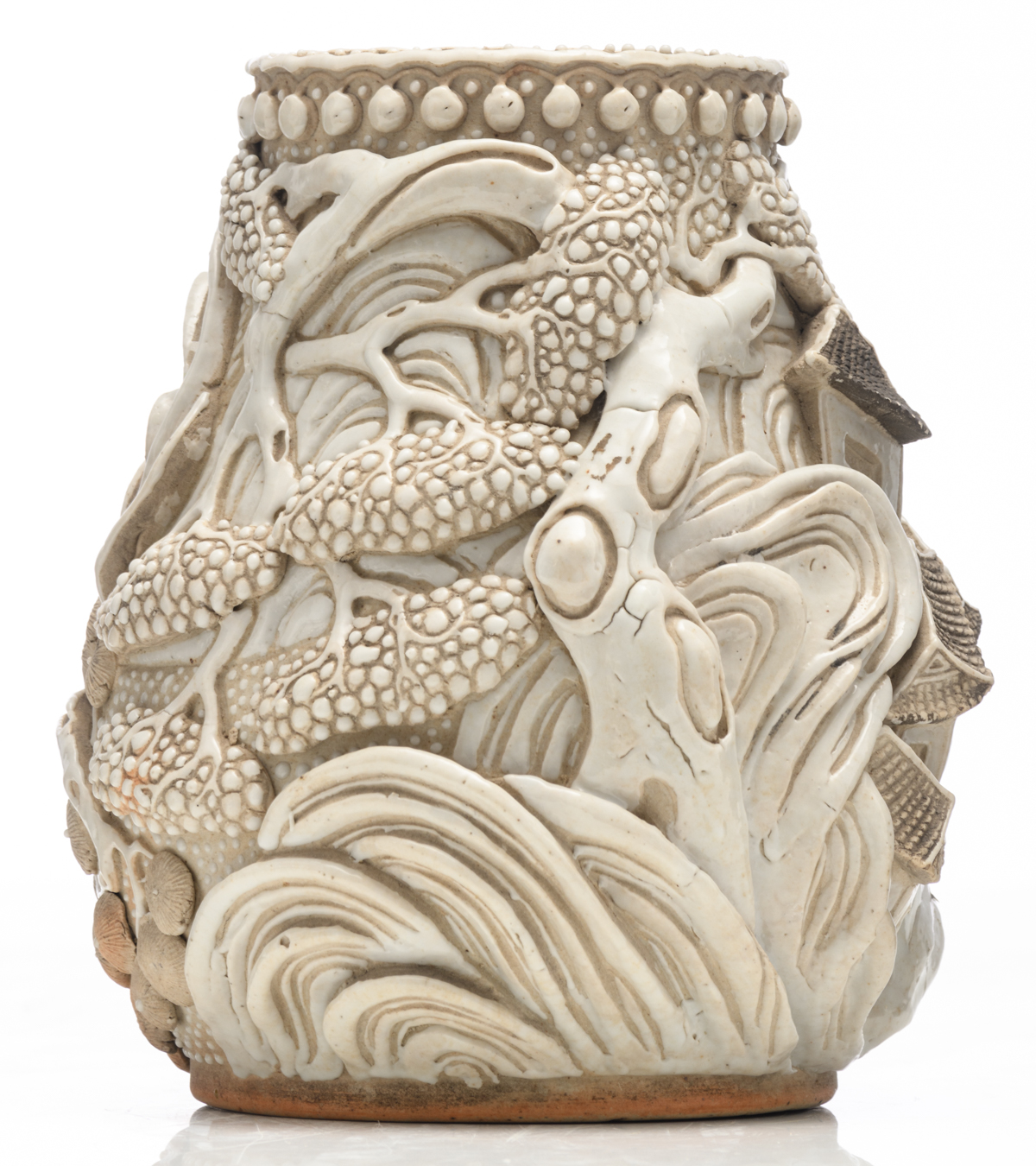 Lot 20 - A Chinese stoneware vase, decorated with willow trees and a mountain village, with a Chenghua