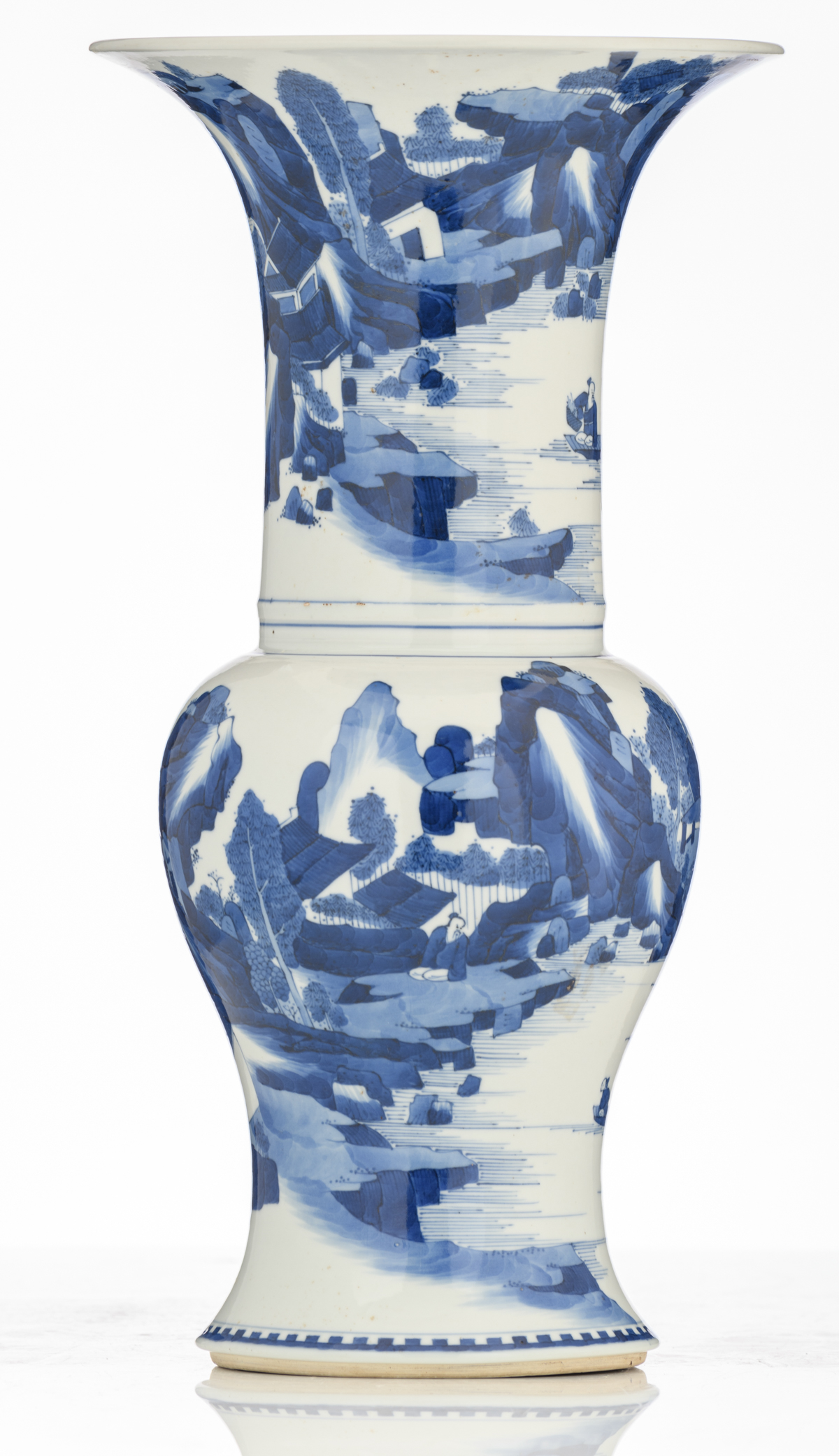 Lot 55 - A Chinese blue and white yenyen vase, decorated with figures in a river landscape, with a Chenghua