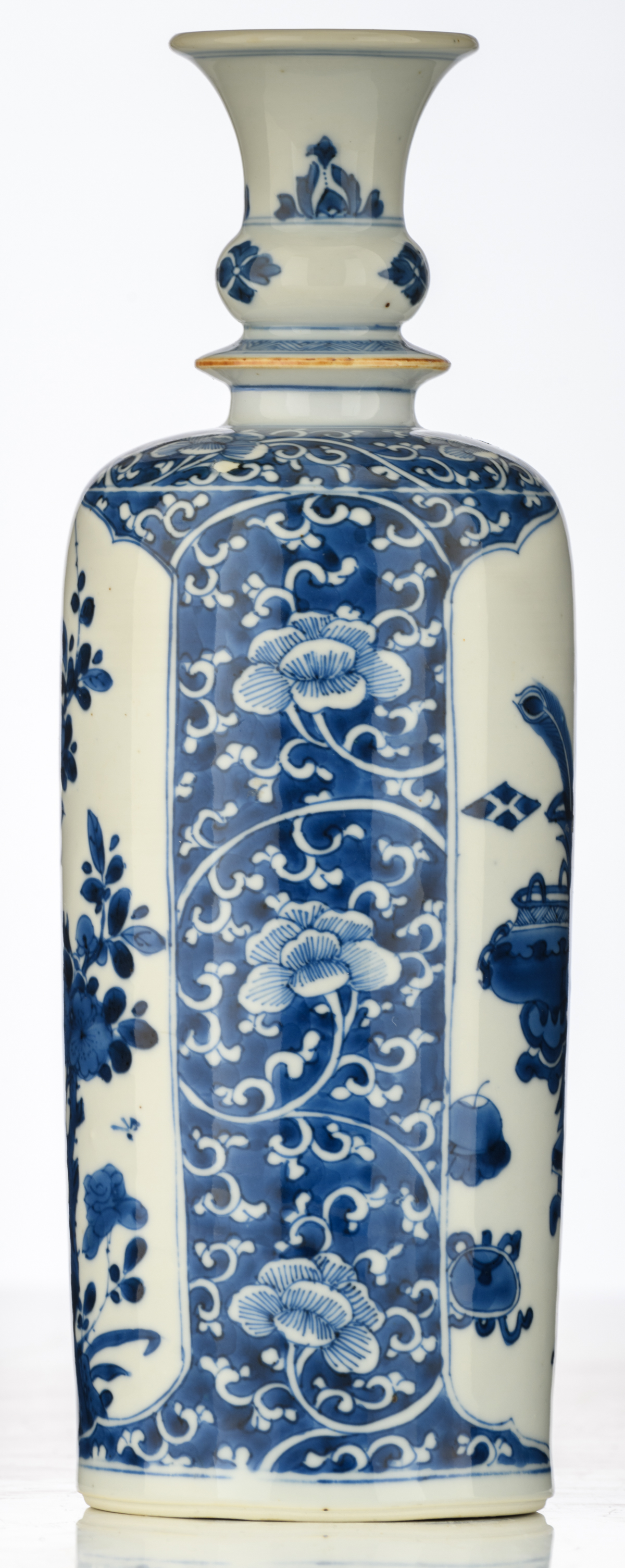 Lot 45 - A Chinese blue and white floral decorated porcelain flask, the roundels with antiquities and