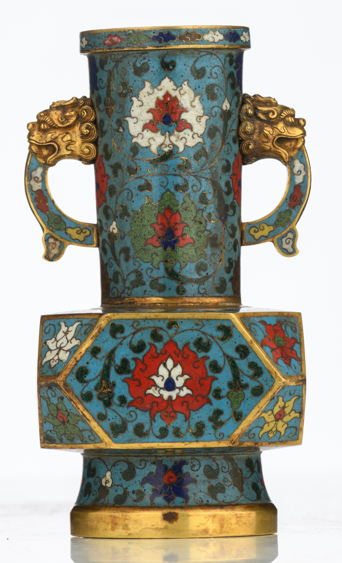 Lot 3 - A small Chinese floral decorated cloisonné bottle vase, the handles with lion's head, with a