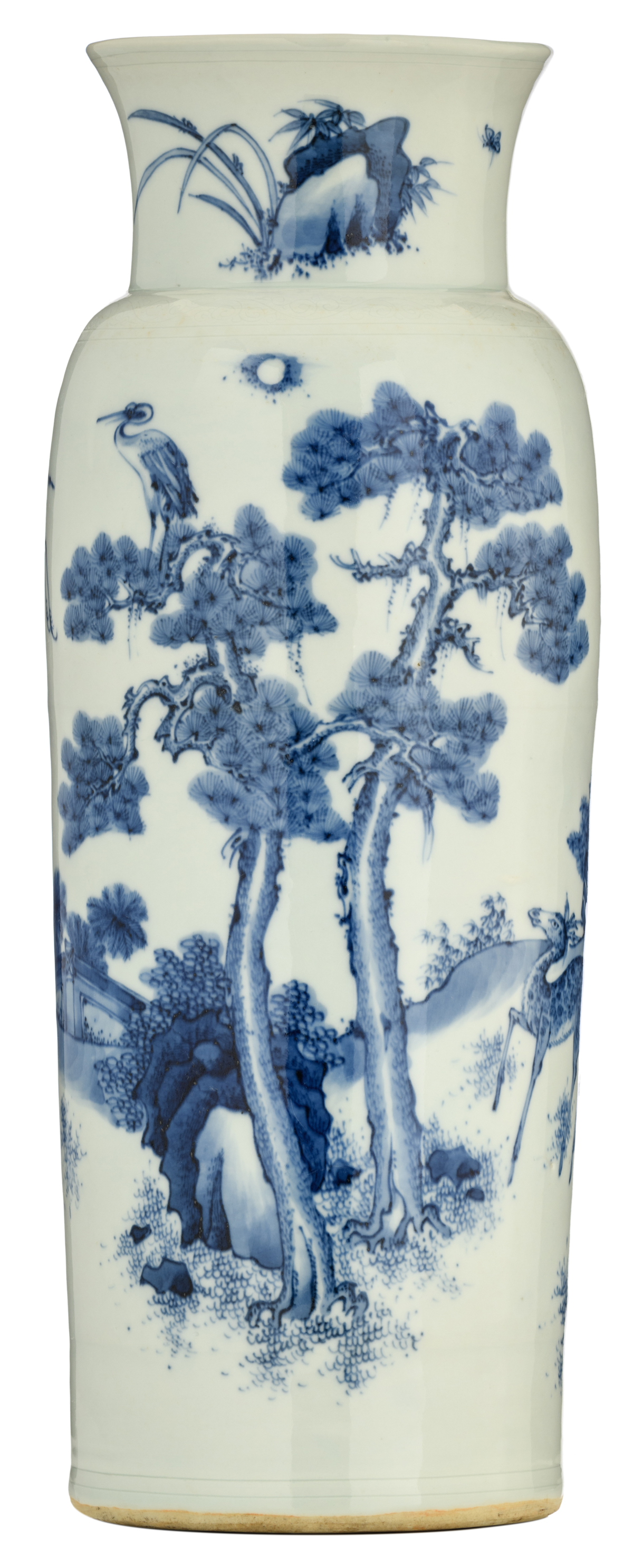 Lot 51 - A Chinese blue and white rouleau vase, decorated with a crane couple and a deer couple in a garden