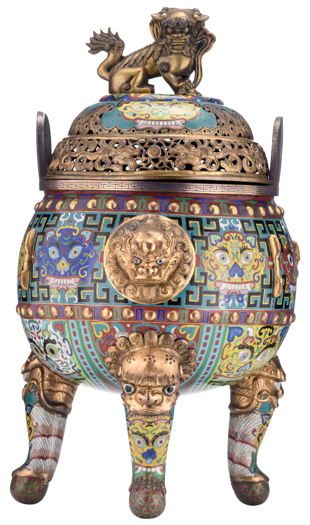 Lot 2 - A Chinese tripod bronze cloisonné incense burner, the body decorated with enameled and appliqué gilt