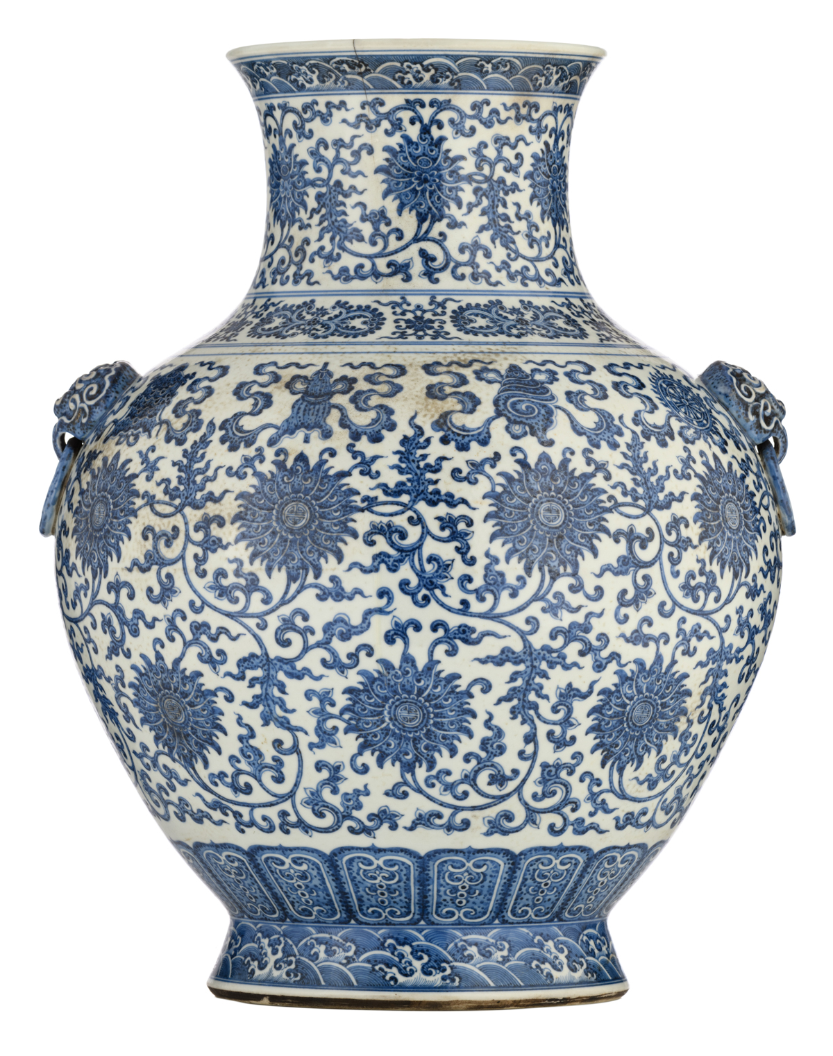 Lot 39 - A Chinese blue and white begonia shaped vase, decorated with lotus scrolls and the eight Buddhist