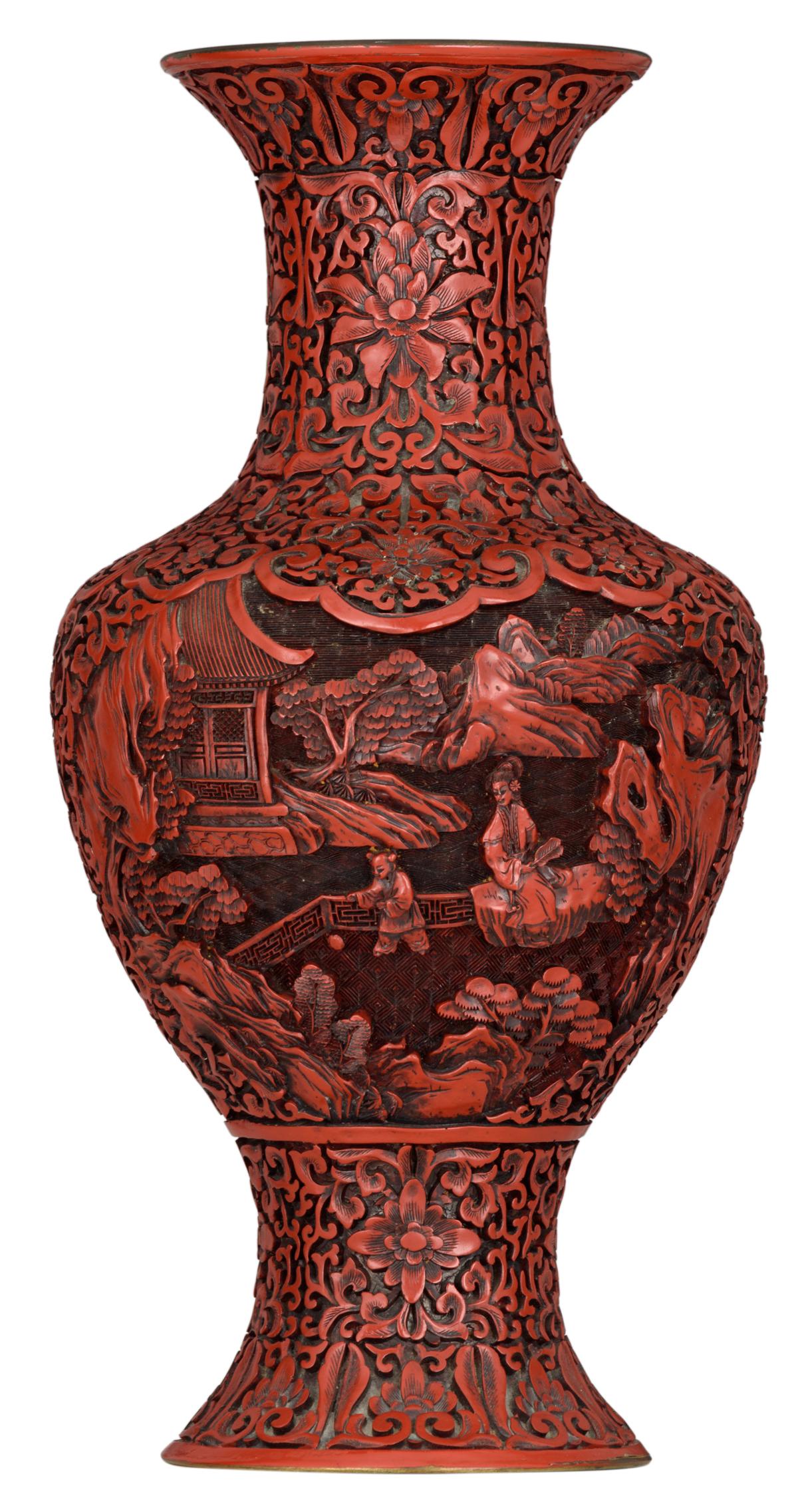 Lot 17 - A Peking cinnabar lacquer baluster vase, H 38,5 cm