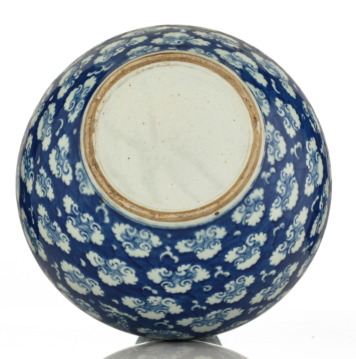 Lot 37 - A Chinese blue and white bottle vase decorated with a dragon chasing the flaming pearl, H 50 cm