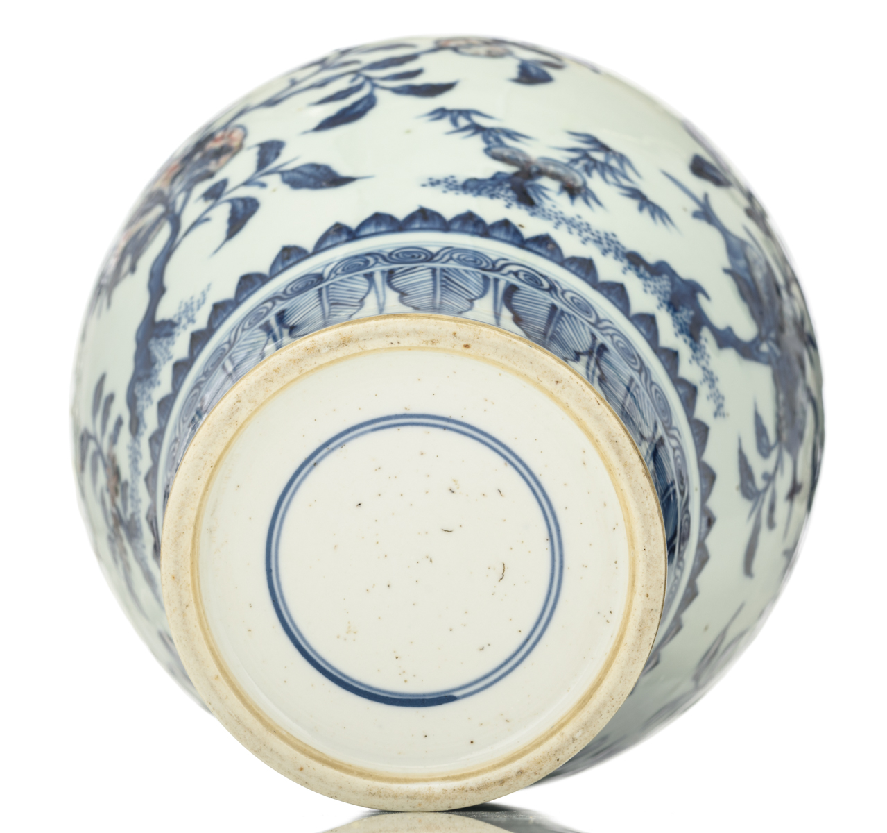 Lot 40 - A Chinese copper red and cobalt blue underglaze meiping vase, decorated with peaches, Buddha's hands